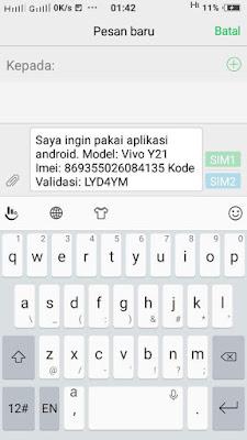 kirim validasi android ke sms center