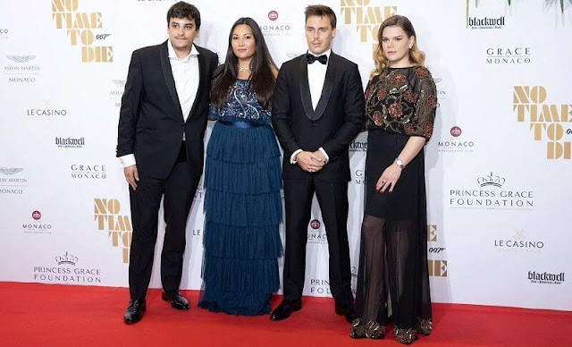 Camille Gottlieb wore an embellished tiered maxi dress by Frock and Frill. Marie Ducruet wore an embellished bardot maxi dress by Beauut
