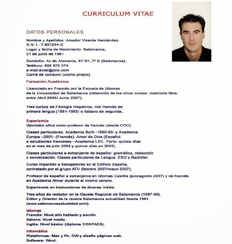 Curriculum Vitae Ejemplos De Curriculums