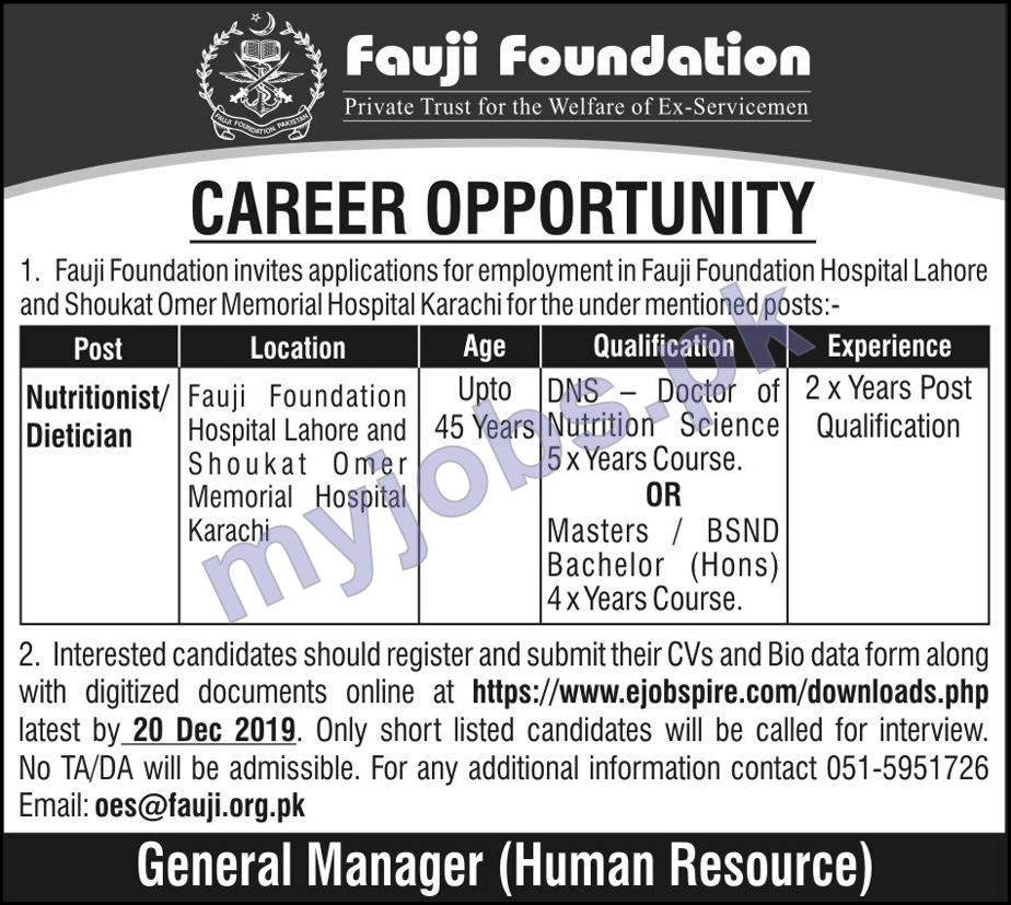 Fauji  Foundation Jobs 2019│Nutritionist Job in Lahore, Karachi│Apply Now