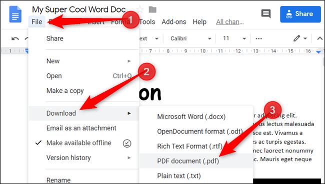 """انقر فوق ملف> تنزيل ، ثم اختر """"وثيقة PDF"""" من قائمة أنواع الملفات."""