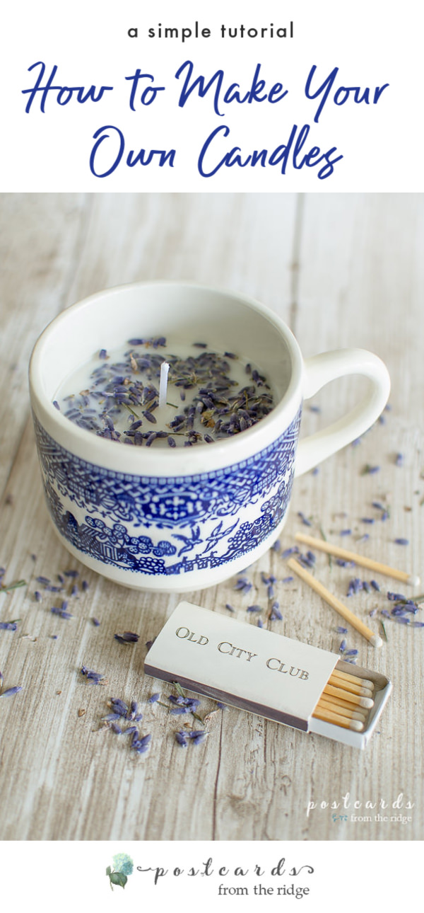 blue and white teacup candle with wooden matches
