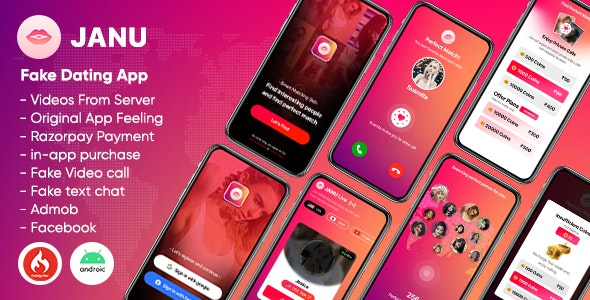 Janu v1.0 - Dating App with Live Streaming : One to One Video Call (Videos from server)