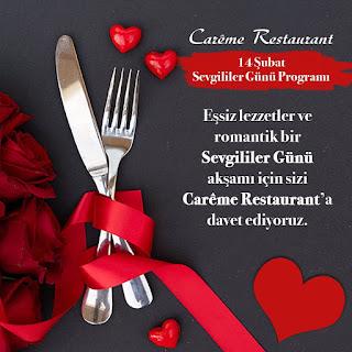 Careme Restaurant İzmir Sevgililer Günü Programı Menüsü 2020