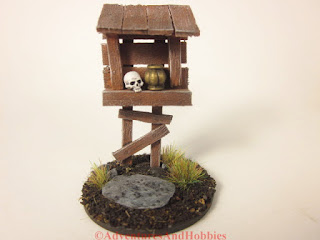 Miniature scenery piece wooden roadside shrine T1533 in 25-28mm scale - front view.