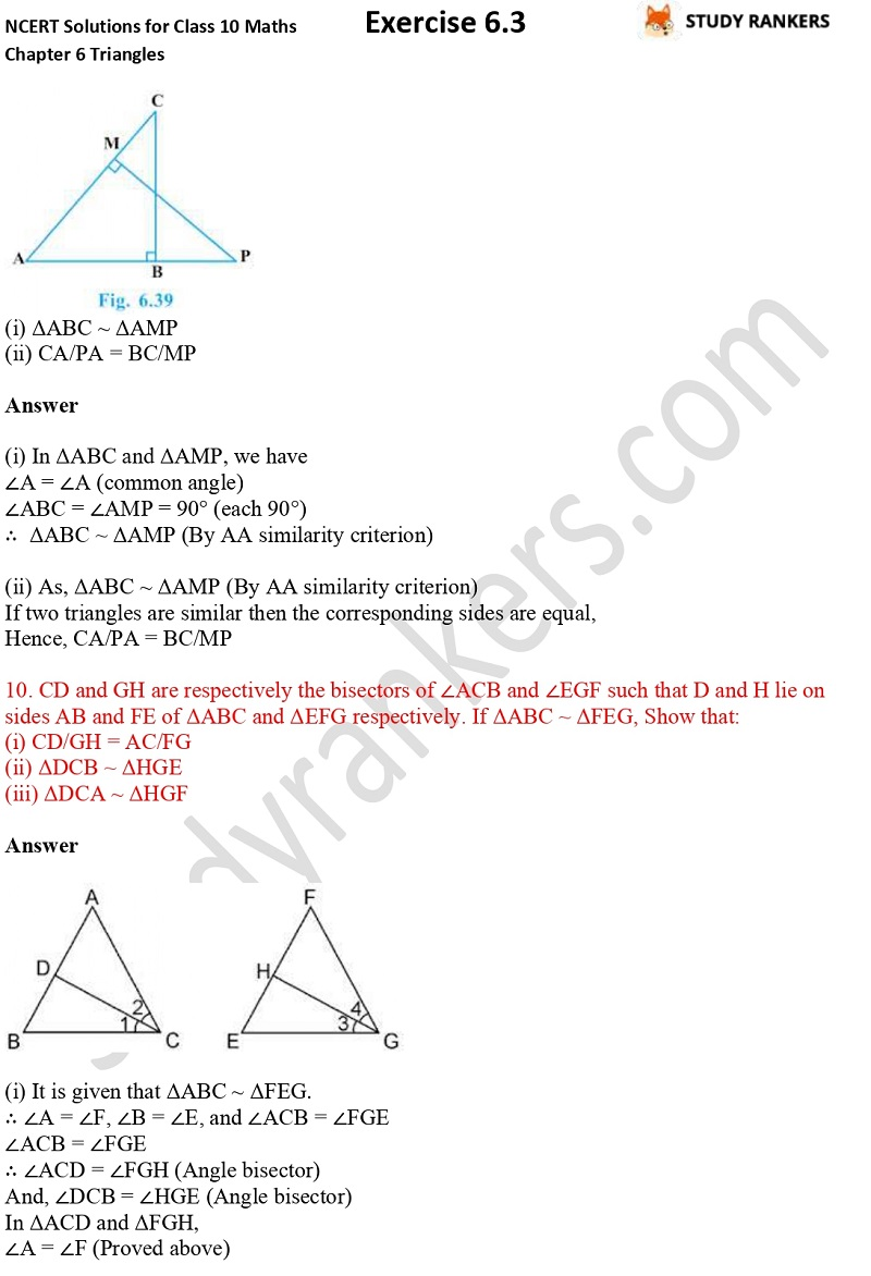 NCERT Solutions for Class 10 Maths Chapter 6 Triangles Exercise 6.3 Part 7
