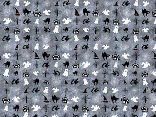 Muster mit Halloween-Motiven in Grau, Schwarz und Weiß