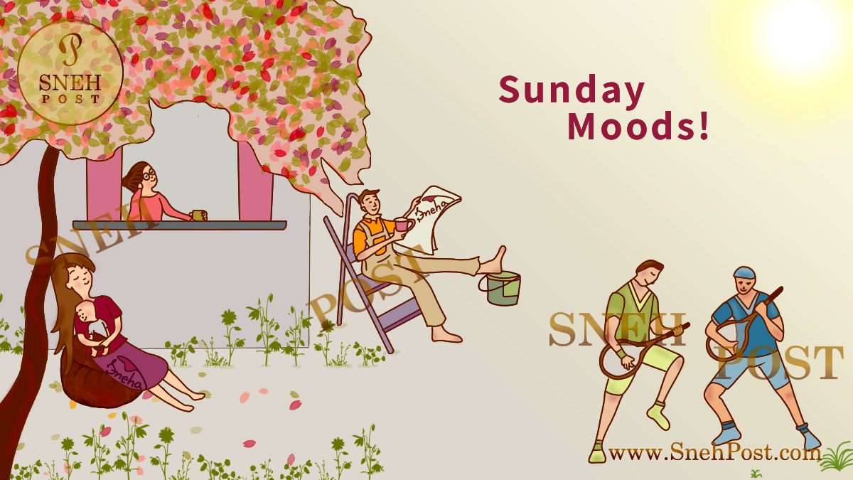 Sunday mood cartoon illustrations of mom relaxing with baby, girl having coffee mug, man reading newspaper, drinking tea cup, boys playing games and singing songs in garden with different sunday moods