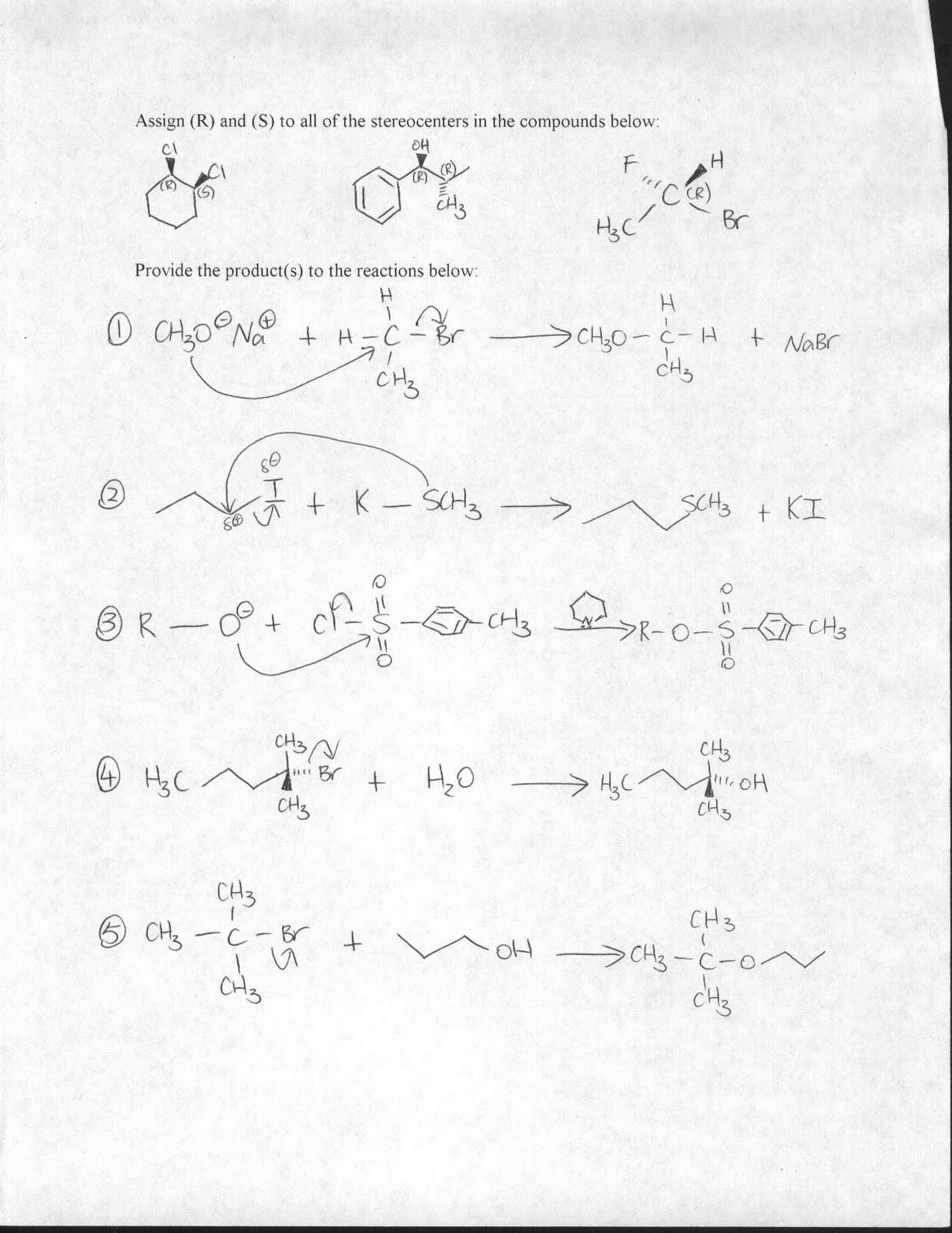 Prepharmacy Society: Organic Chemistry & Verbal Answer Key