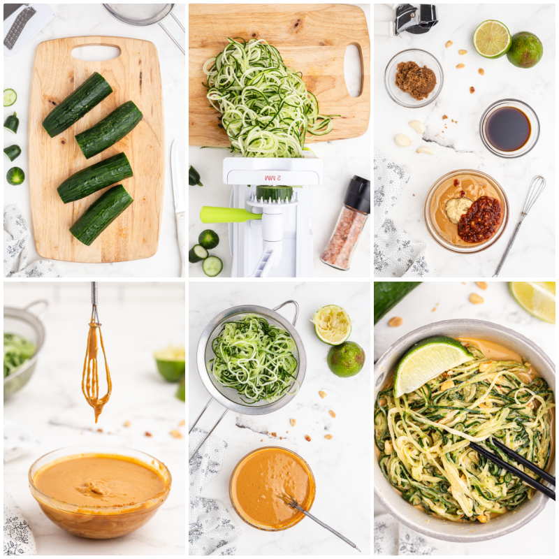 Six photos of the process of making Spicy Peanut Cucumber Noodle Salad.