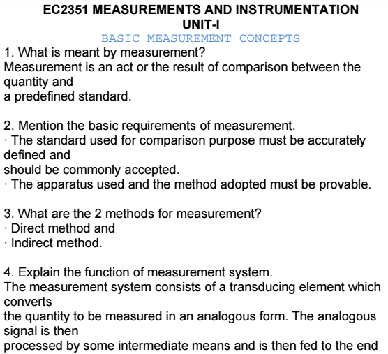 Measurements And Instruments Viva Short Questions And Answers Pdf