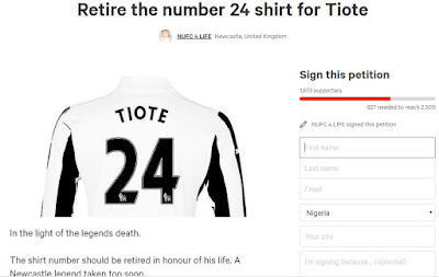 Capture - Newcastle fans start petition for the club to retire Cheick Tiote's old shirt number