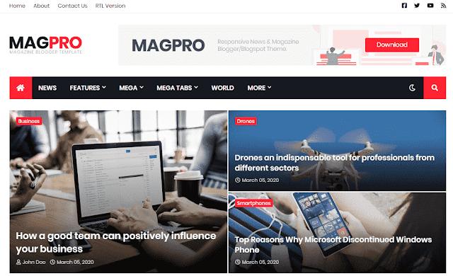 Chia sẻ MagPro News & Magazine Blogger Template