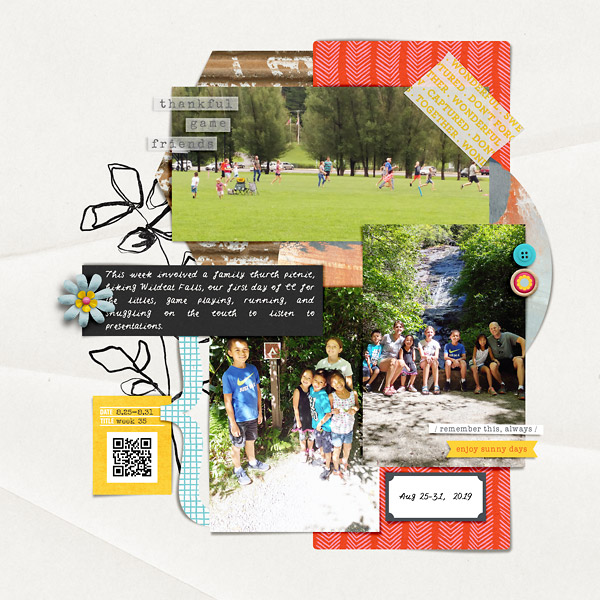 Digital Scrapbook Page by Liz: Hiking and Friends