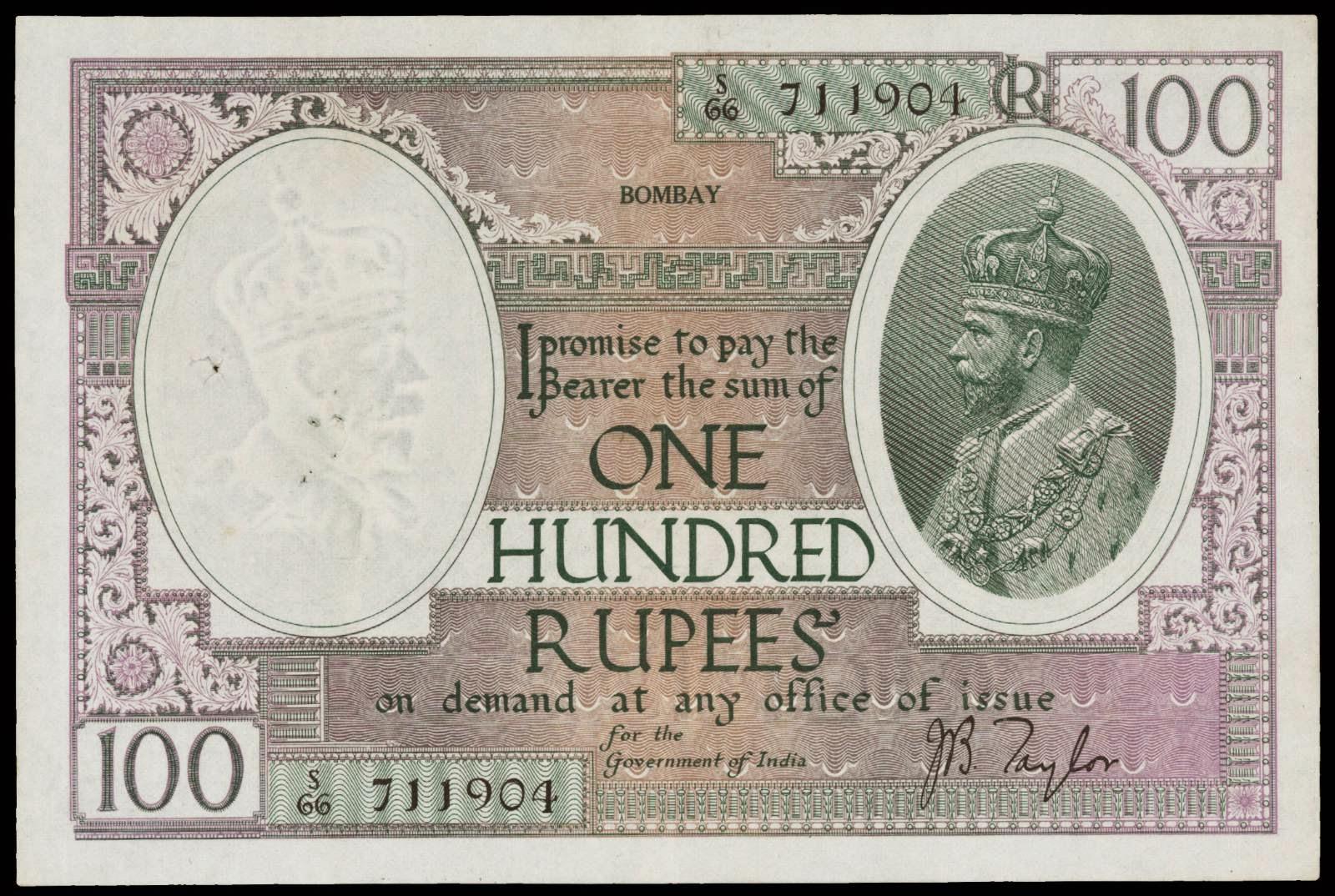 British India 100 Rupee Note King George V