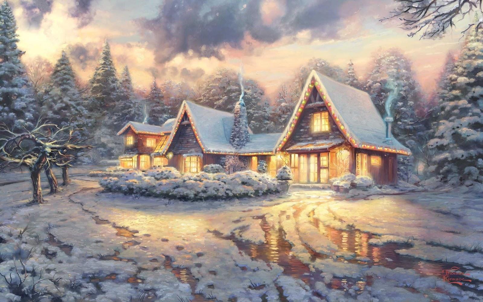 inverno, neve, paesaggio innevato, casa, alberi, bosco
