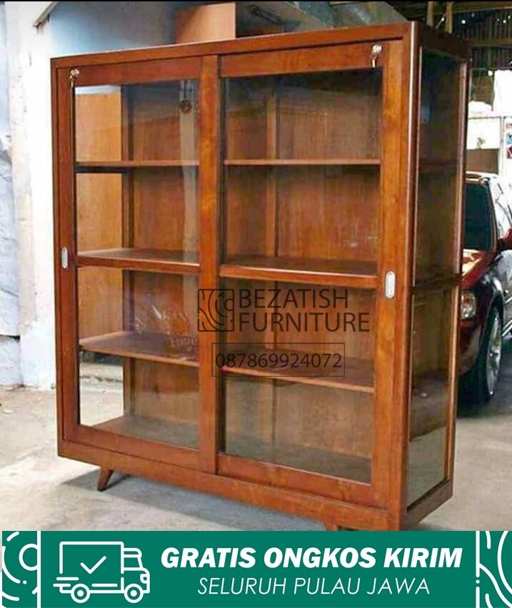 lemari hias minimalis almari buku kayu jati