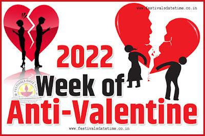 2022 Anti-Valentine Week List, 2022 Slap Day, Kick Day, Breakup Day Date Calendar