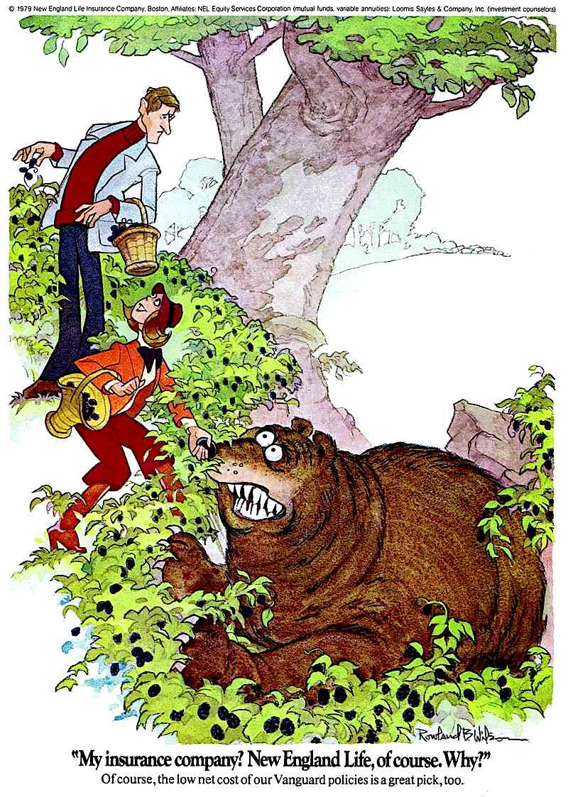 a Rowland B. Wilson advertising cartoon for life insurance, New England Life, meeting a bear in the woods
