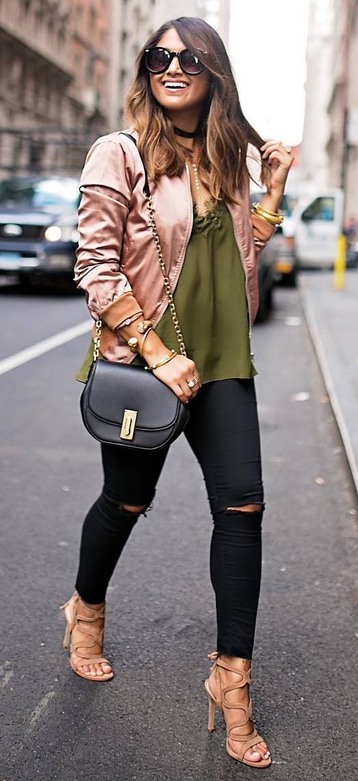 casual outfit inspiration: bomber + blouse + ripped jeans + bag + heels