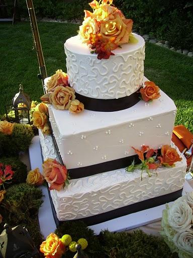 Orange Roses Fall Wedding Cakes