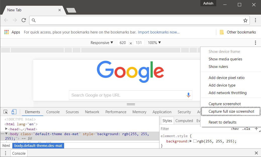 Take a Screenshot of a Whole Webpage in Chrome