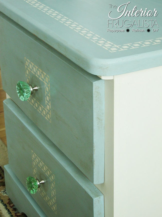 Greek Key Stenciled Pine Night Table