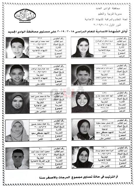 نتيجة الشهادة الاعدادية 2019 محافظة الوادي الجديد برقم الجلوس - اخر العام