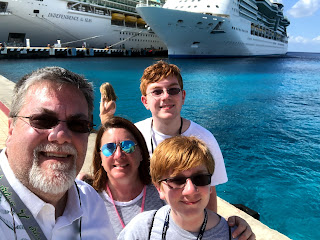 David Brodosi and family outside the cruise ship.