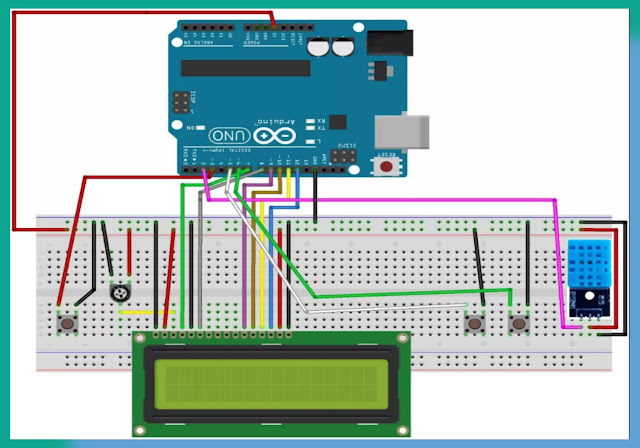 Clock without using RTC in Arduino with Temperature and humidity indicator