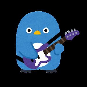 ペンギンのバンドのイラスト(ベースギター)