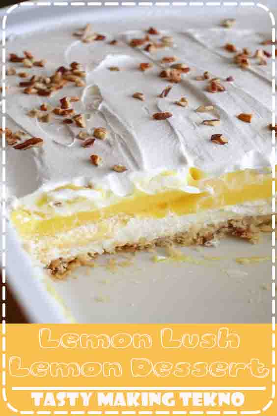 Easy cold lemon dessert (aka lemon lush) made with cream cheese and lemon pudding.