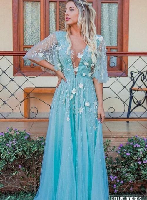 Vestido de festa azul tiffany com manga curta (manguinha)