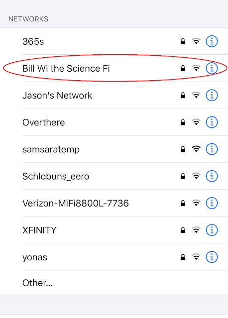 Network name: Bill Wi the Science Fi