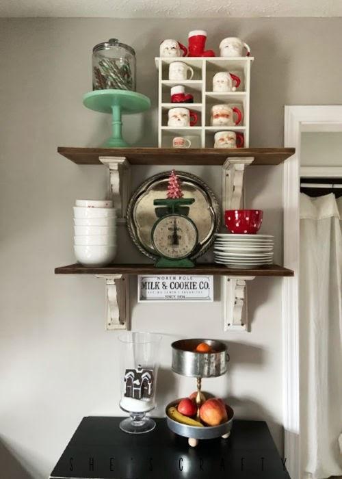 Vintage Christmas Decor Vignettes     see various ways to use vintage Christmas pieces in your home decor       kitchen, open farmhouse shelves, santa mugs