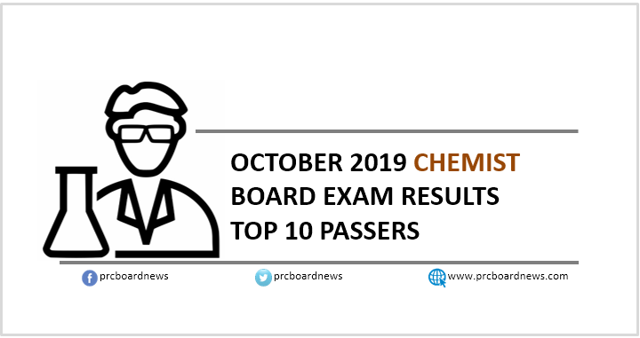 RESULT: October 2019 Chemist board exam top 10 passers
