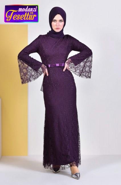47c717c7274c7 İncili Abiye Elbise 81689-01 Mor - sefamerve 2019 elbise modelleri