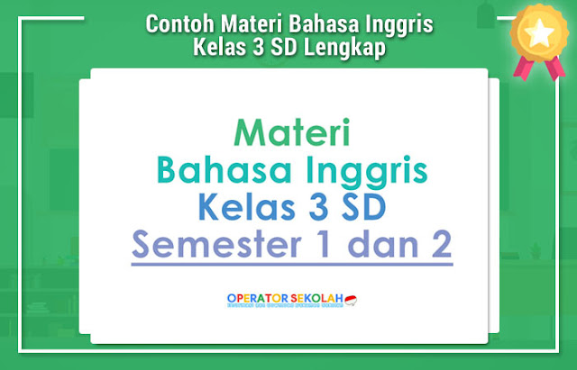 Contoh Materi Bahasa Inggris Kelas 3 SD Lengkap