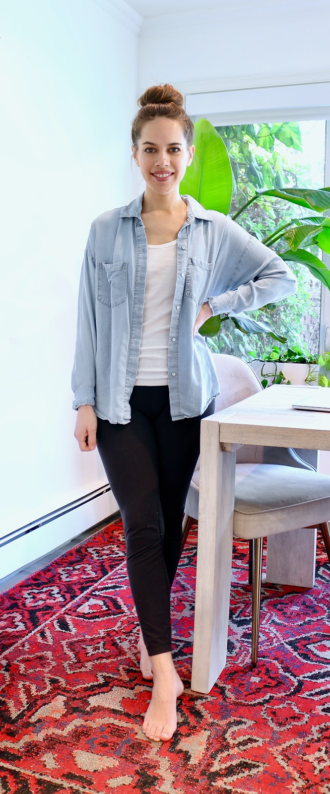 Jules in Flats - Chambray Button-Up (Easy Work from Home Outfit)