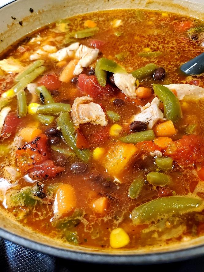 This is a pot southwestern soup
