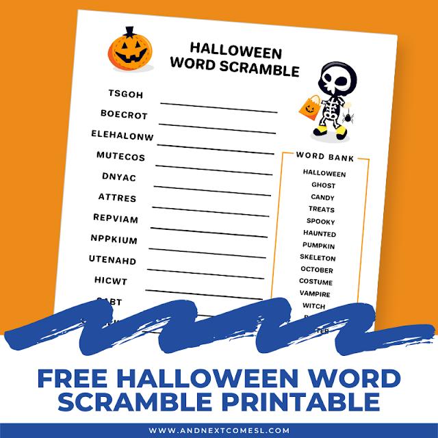 Free printable Halloween word scramble for kids
