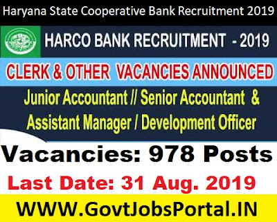 Haryana State Cooperative Bank Recruitment 2019