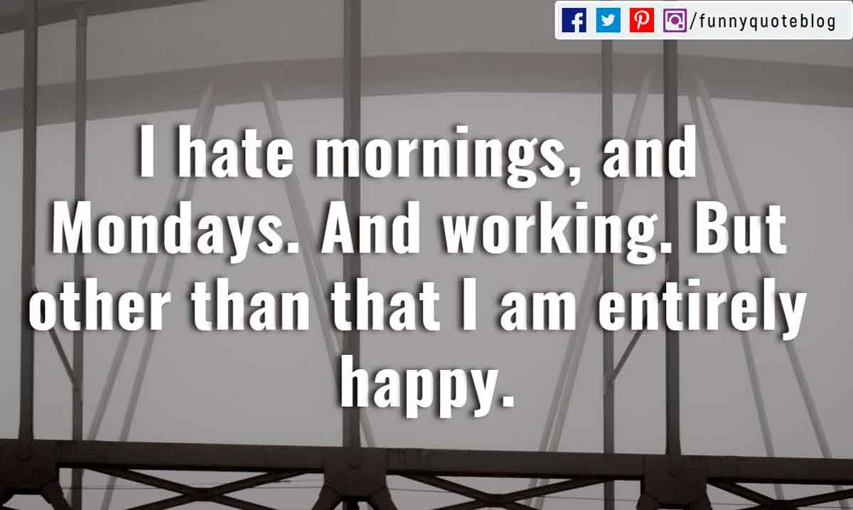 """I hate mornings, and Mondays. And working. But other than that I am entirely happy."""
