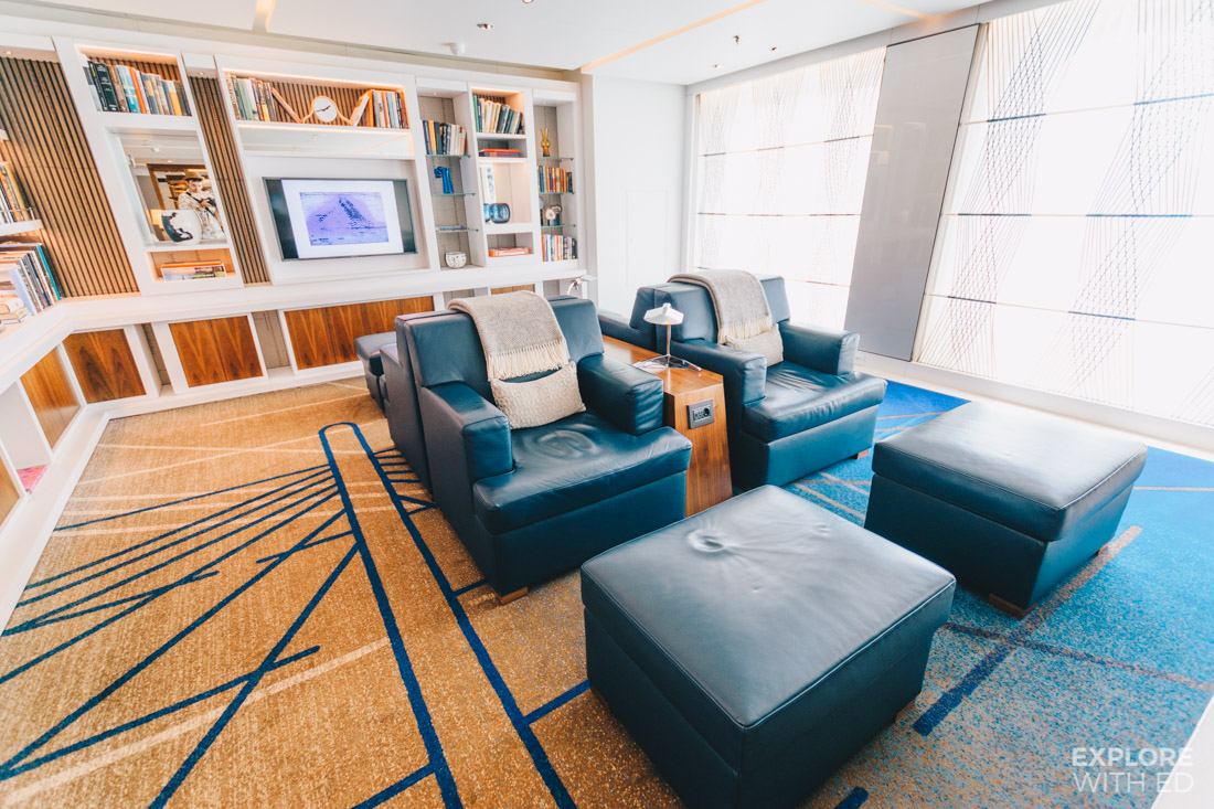 The Living Room onboard the Viking Sea is Scandi chic with comfortable seating and a book selection