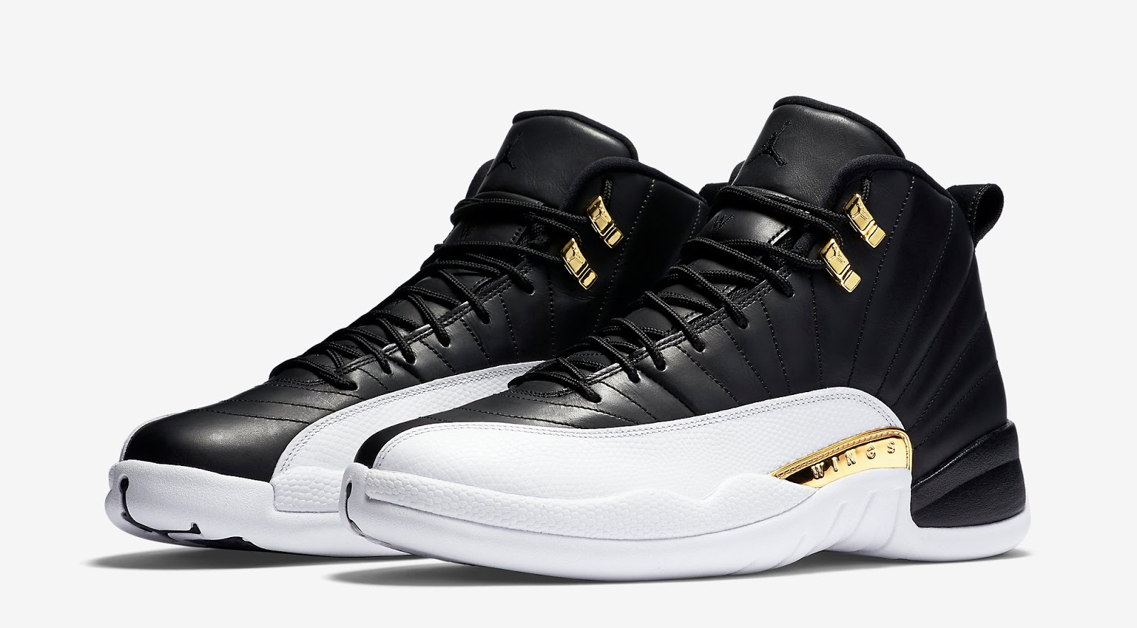 jordan 12 retro black and gold white wings