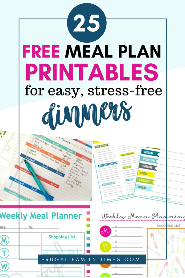 meal plan printables