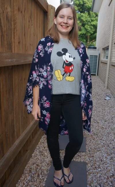 floral kimono, mickey mouse graphic tee and skinny jeans | away from the blue