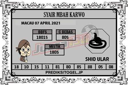 Syair Mbah Karwo Togel Macau Rabu 07 April 2021