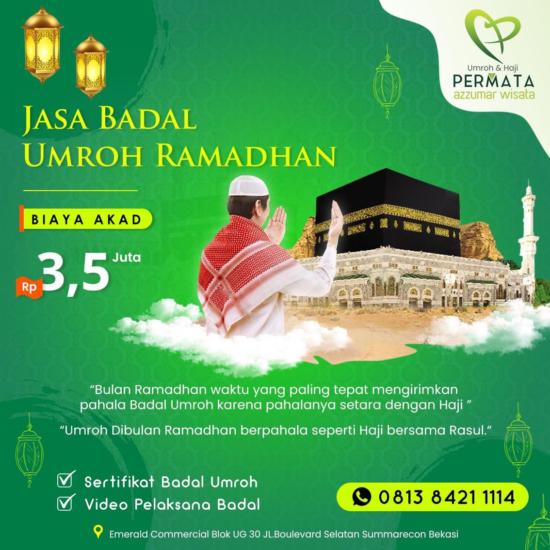 paket biaya jasa badal umroh ramadhan resmi bersertifikat