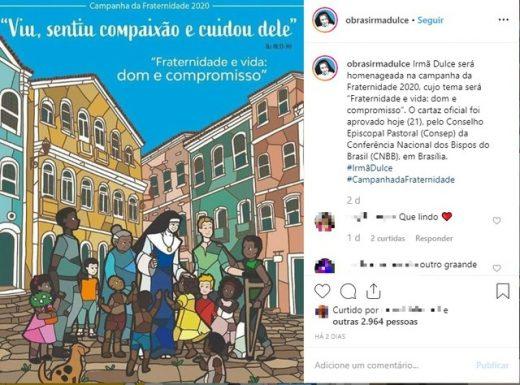 Irmã Dulce é homenageada em cartaz da Campanha da Fraternidade de 2020